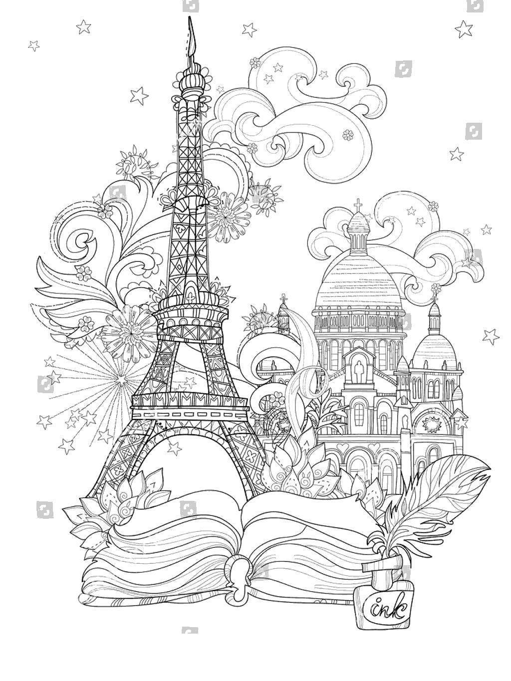 Eiffel Tower Coloring Pages Colouring Line Drawing Free Printable