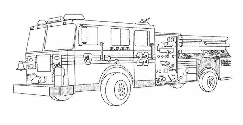 fire truck realistic coloring pages - photo#42