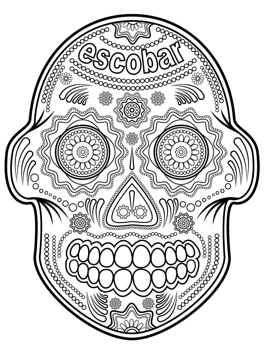 Girl Sugar Skull Coloring Pages Skulls Linear Free Printable