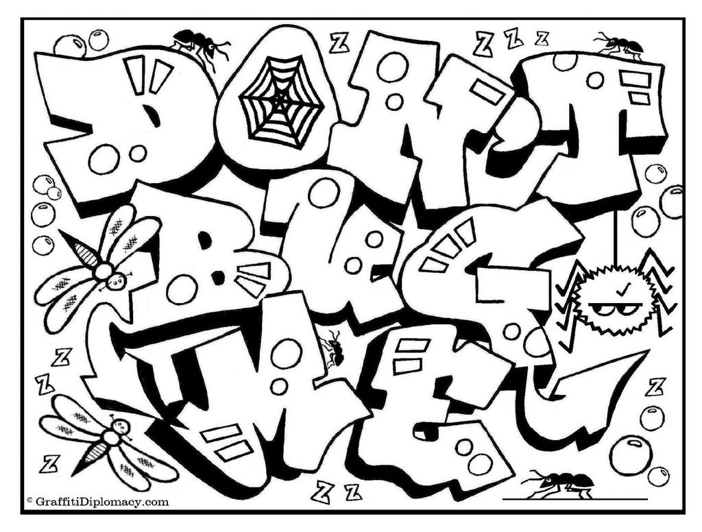 Free Graffiti Letters Coloring Pages  for Preschool printable
