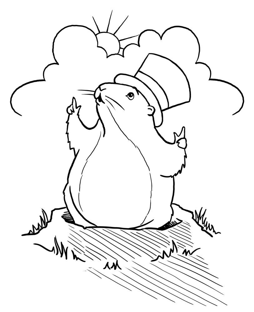 Groundhog Day Coloring Pages Sheet Preschool Clipart - Free ...
