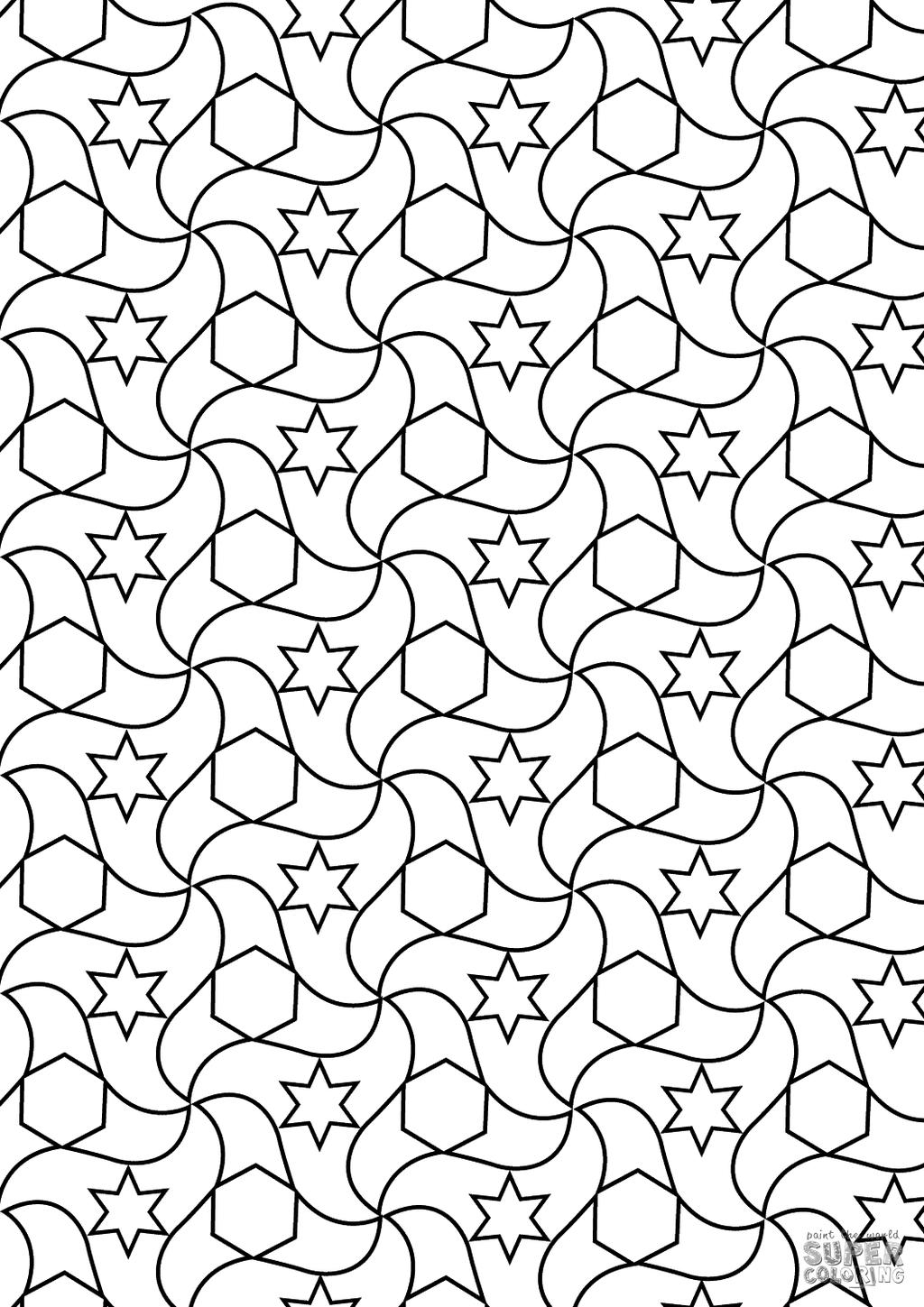 Free Islamic Art Coloring Pages Alhambra Tessellations printable