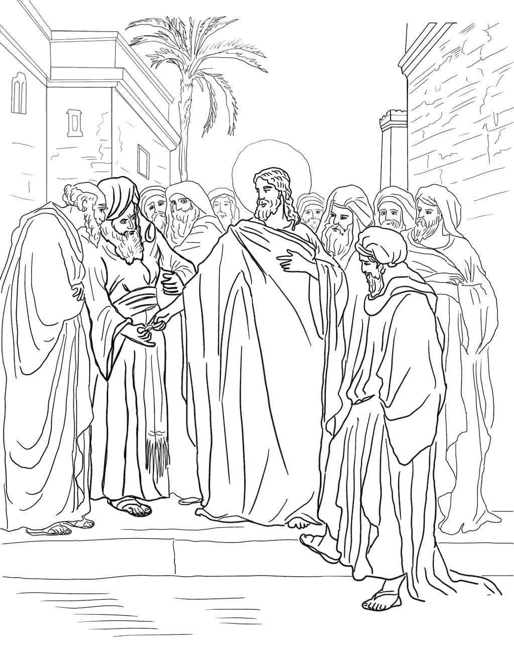 Jesus Washing Feet Coloring Pages Disciples Line Drawing ...