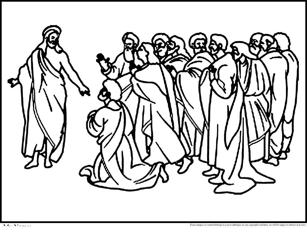 Jesus Washing Feet Coloring Pages Disciples Washes - Free Printable ...