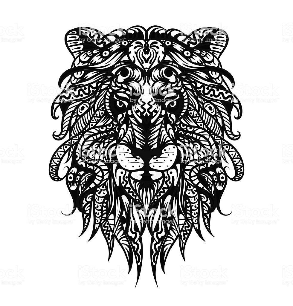 Lion Head Coloring Pages Patterned Adult Free Printable