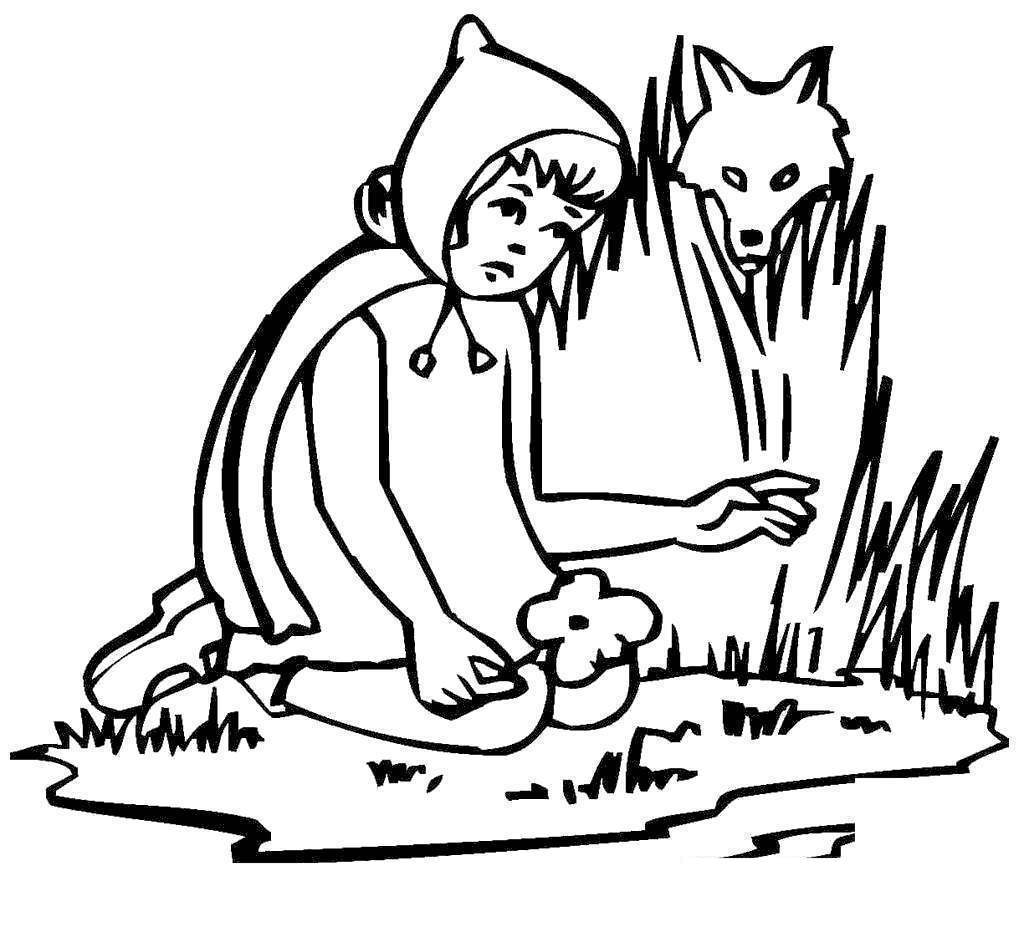 Little Red Riding Hood Coloring Pages Kids Cartoons Free Printable