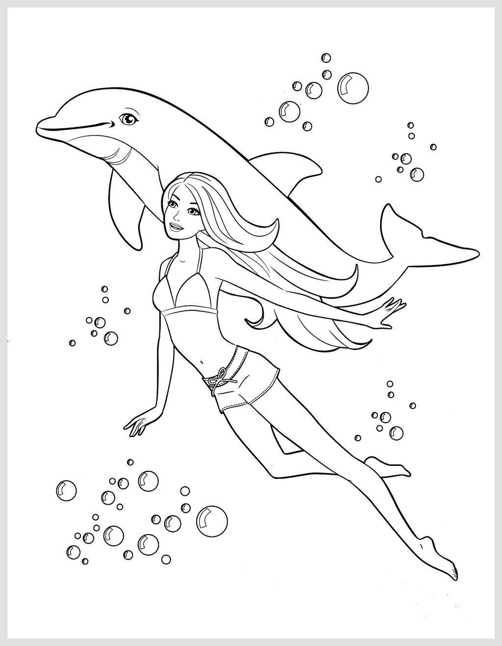 Mermaid With Dolphin Coloring Pages Barbie In Free Printable