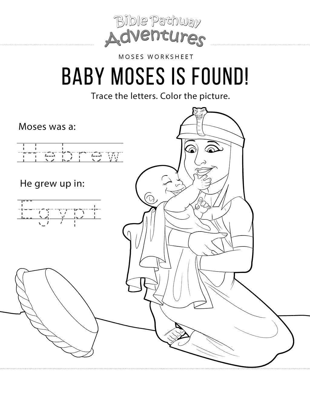 Moses Passover Coloring Pages Baby Bible - Free Printable ...