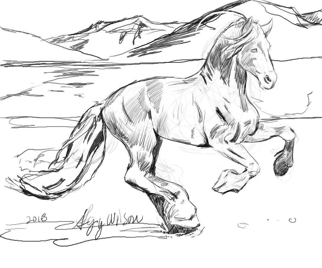 Realistic Horse Coloring Pages Horses Outline - Free Printable ...
