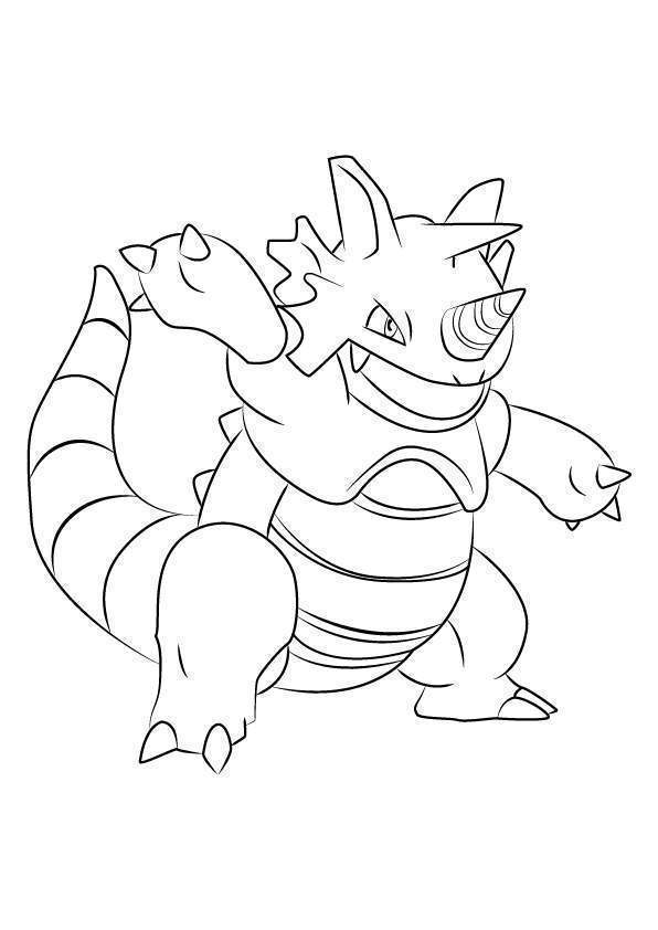 Rhydon From Pokemon Coloring Pages Free Printable Coloring