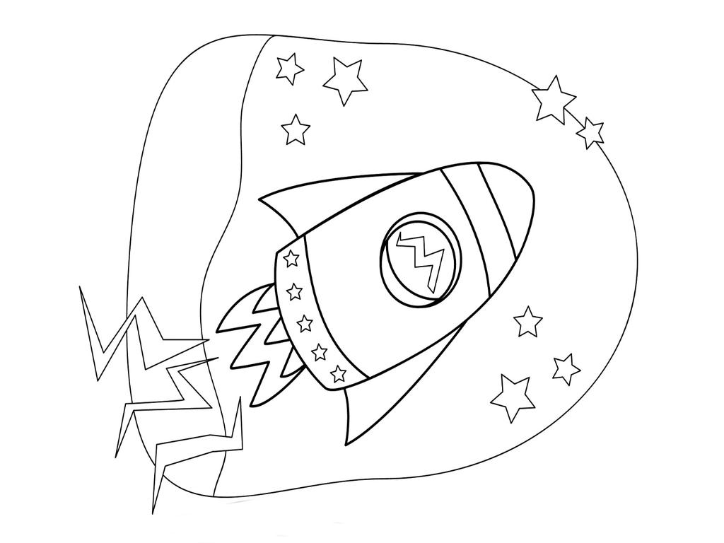 Rocket Ship Coloring Pages Kids Hand Drawing