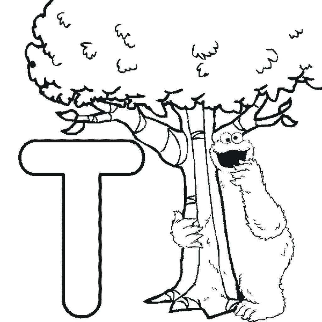 Free Sesame Street Coloring Pages Alphabet for Preschool printable
