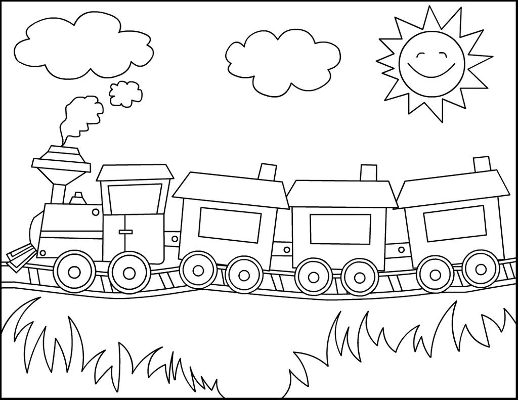 Free Simple Train Coloring Pages Kids Line Drawing printable