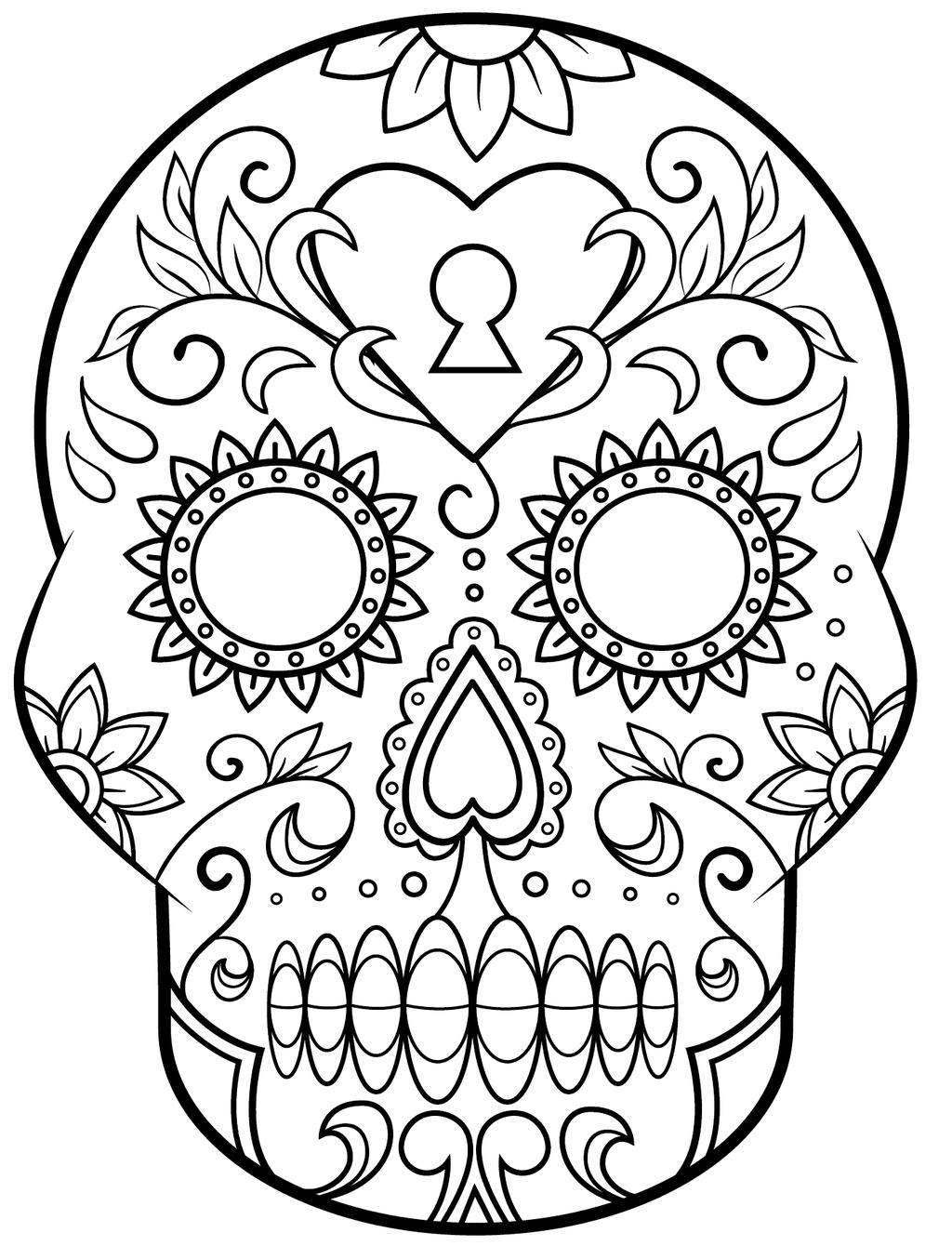 Skulls Coloring Pages Day Dead Drawing Pictures Free Printable