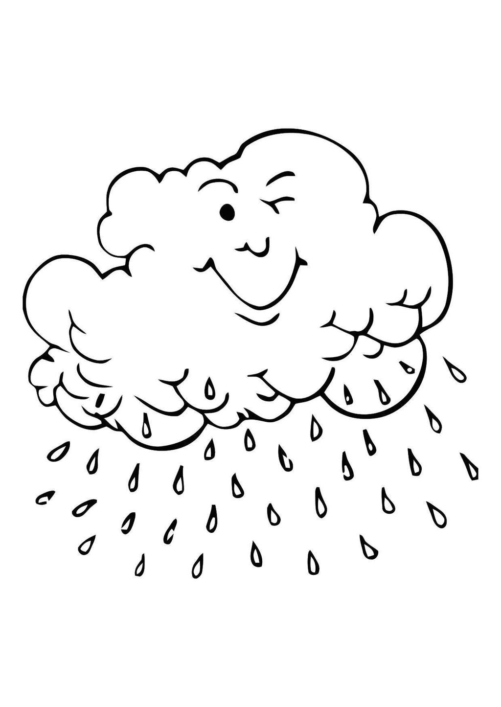 Sun And Clouds Coloring Pages Cloud Kids Lineart - Free Printable ...