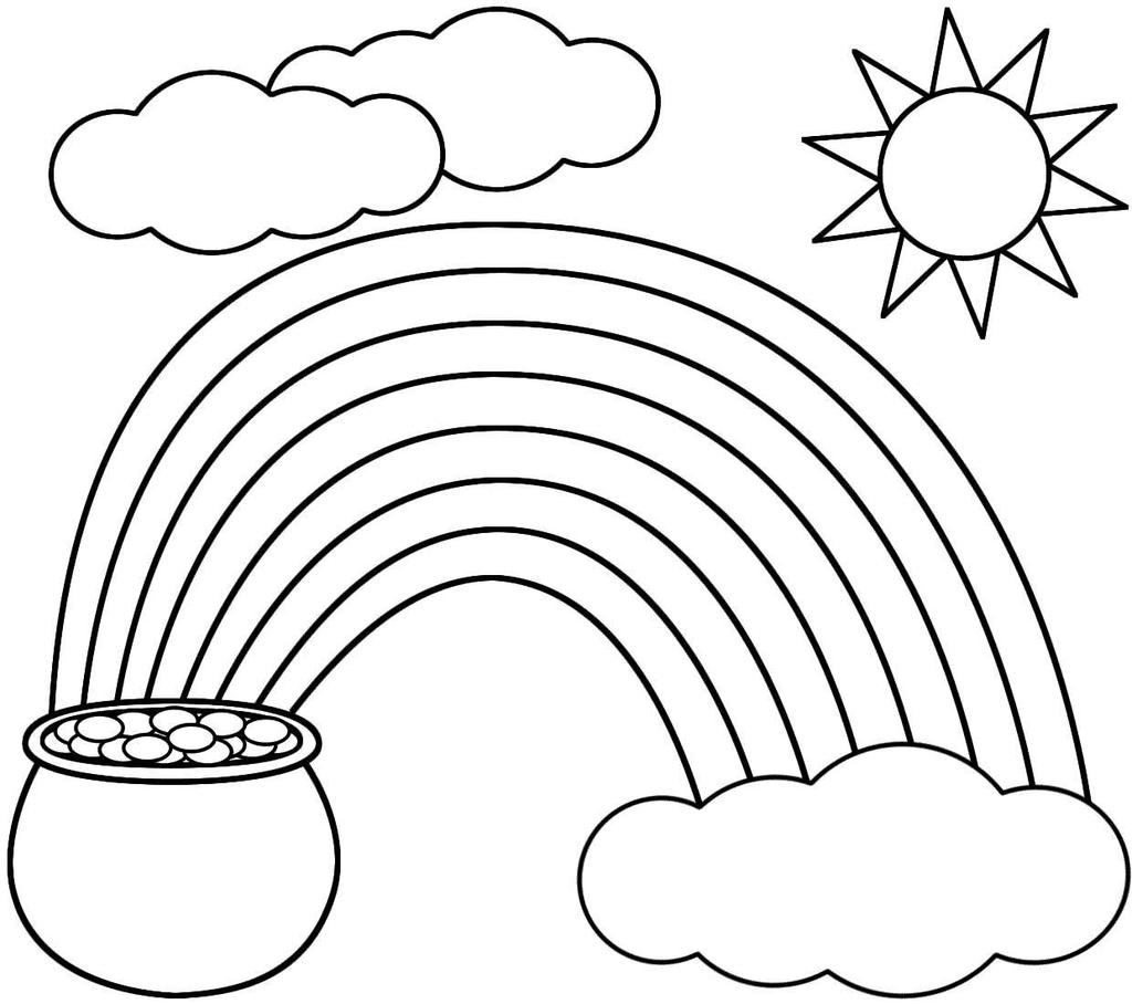 Sun And Clouds Coloring Pages Rainbow Pot Coloring Book - Free ...