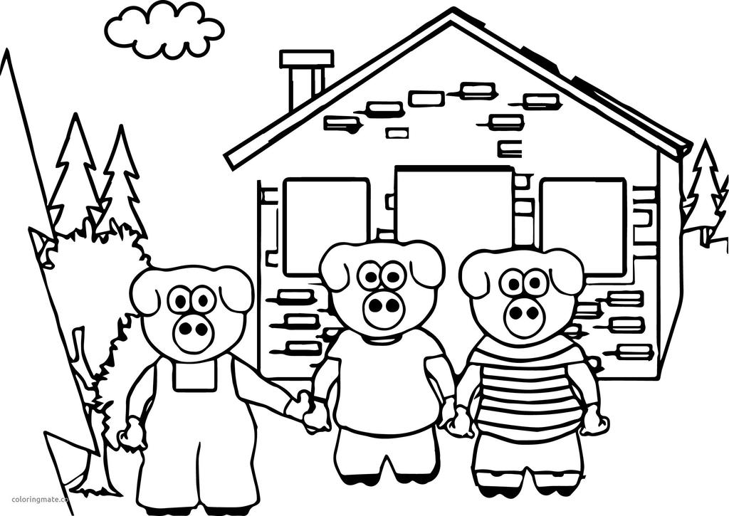 Three Little Pigs Coloring Pages Childrens Characters Free