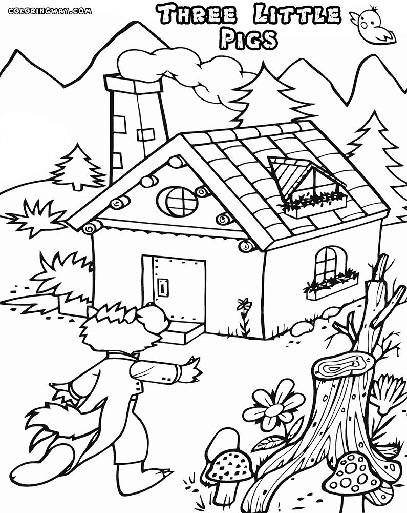 Three Little Pigs Coloring Pages Htm Houses Free Printable