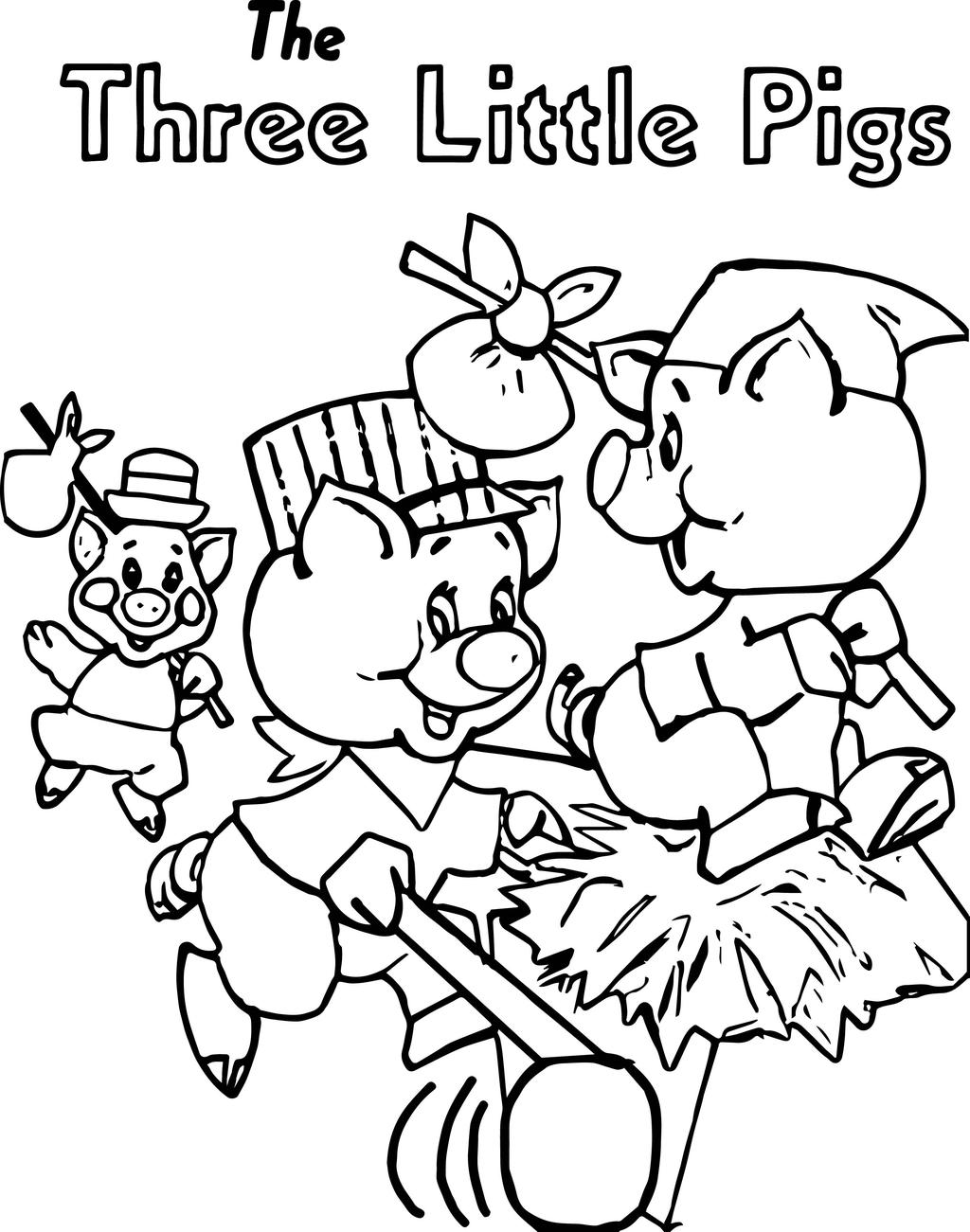 Three Little Pigs Coloring Pages Running Level - Free Printable ...