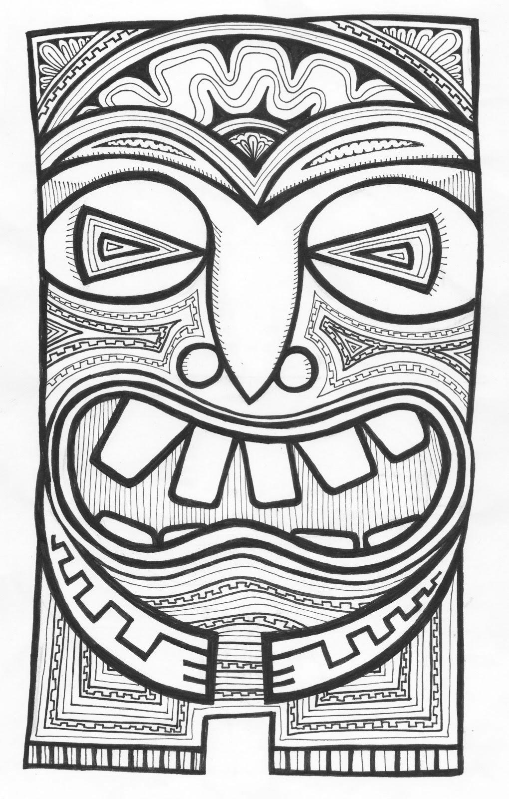 Free Tiki Mask Coloring Pages Hawaiian And printable