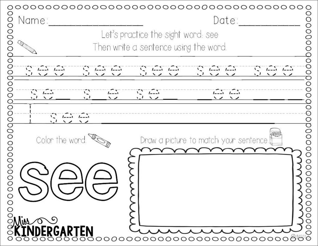 First Grade Sight Word Coloring Pages Worksheets ...