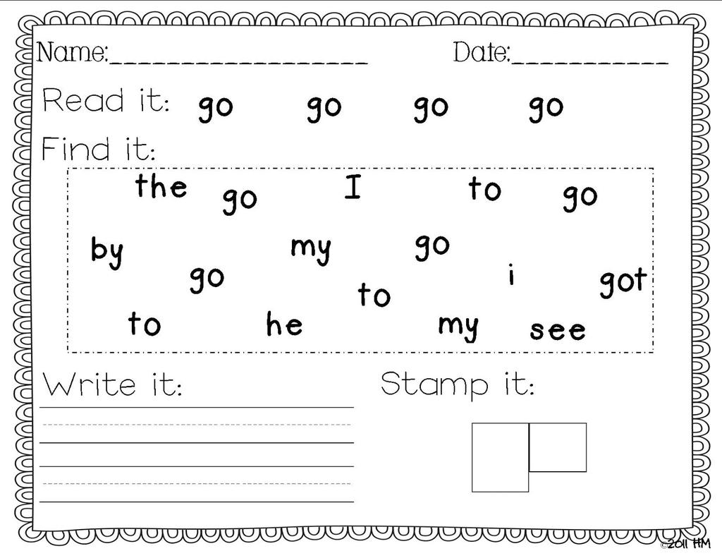 First Grade Sight Word Coloring Pages Worksheets Words