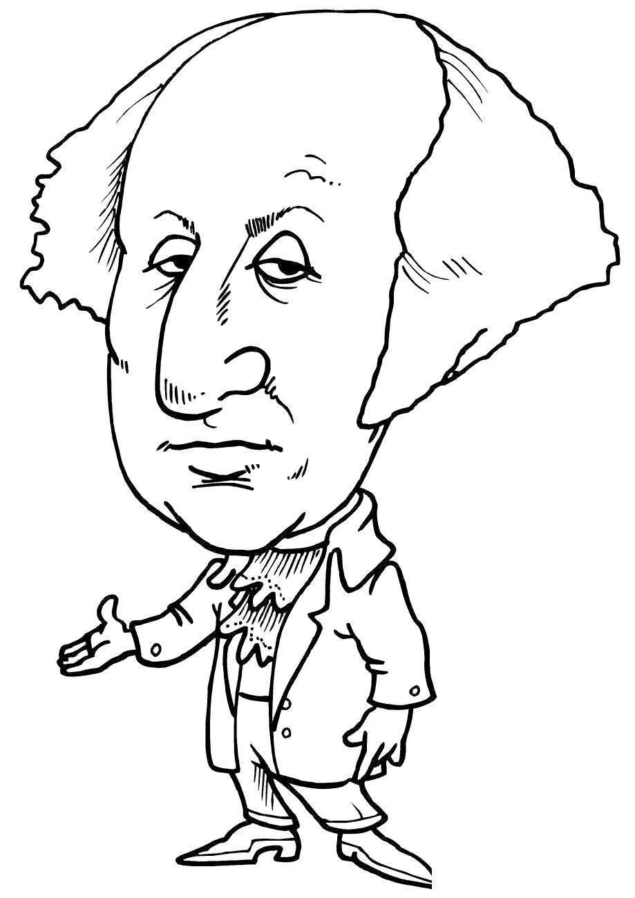 Free George Washington Coloring Pages ing Caricature printable
