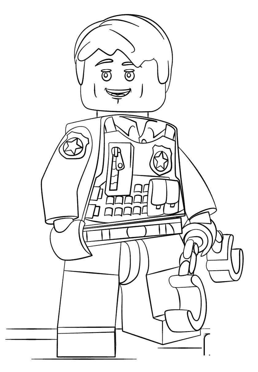 Free Lego Police Coloring Pages 986 Black and White printable