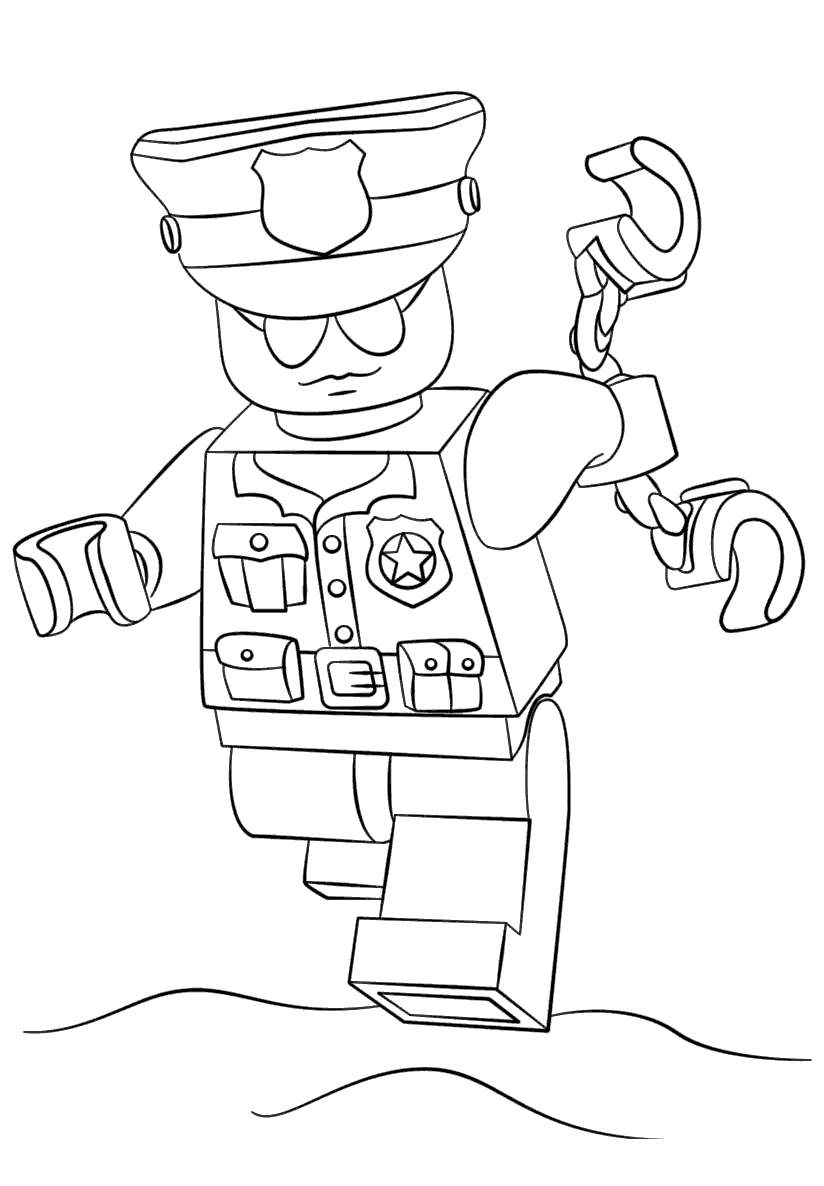 Free Lego Police Coloring Pages Kids Characters printable