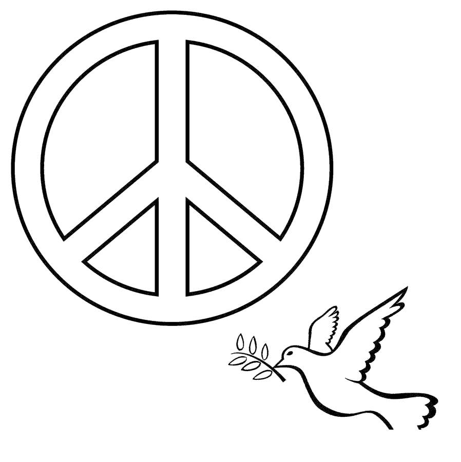 Peace Signs Coloring Pages Sign Coolbkids Free Printable Coloring