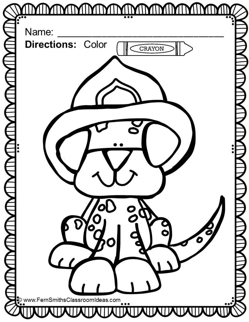 Free Sparky The Fire Dog Coloring Pages Safety Dollar printable
