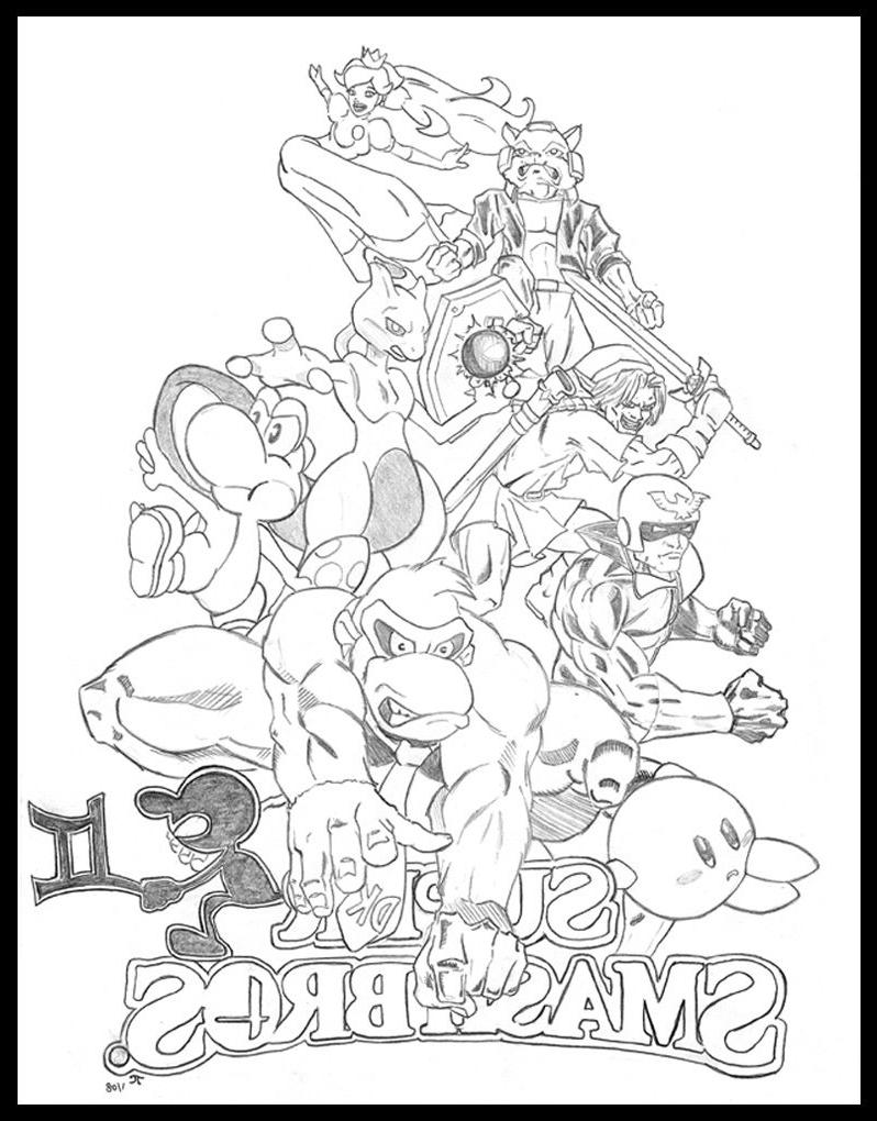 Super Smash Bros Bralw - Free Colouring Pages