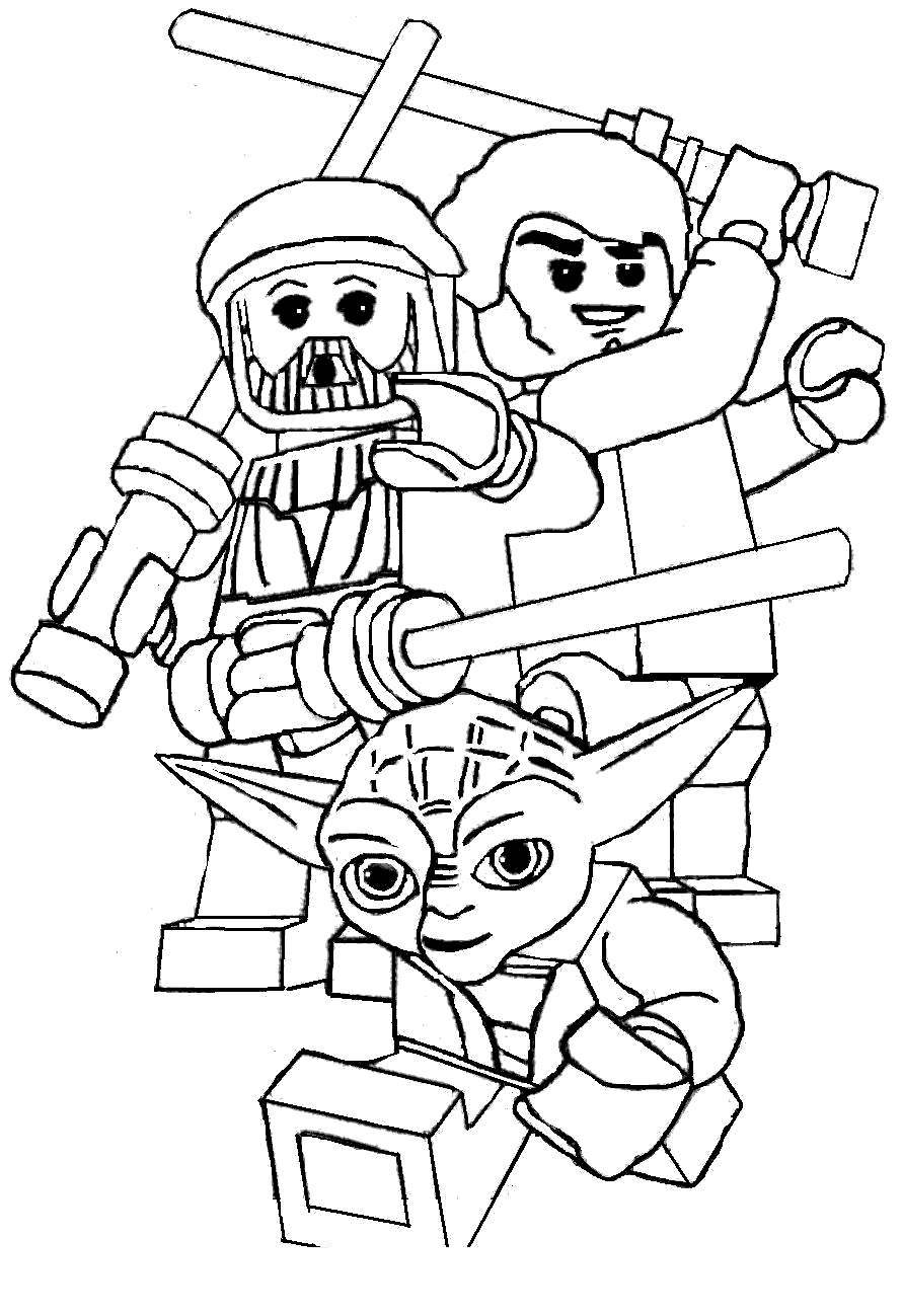 Yoda Head Coloring Pages Lego Line