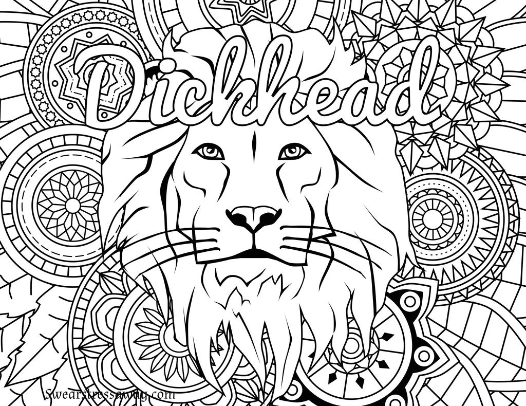 Free Adults Cuss Words Coloring Pages Dickhead Swear printable