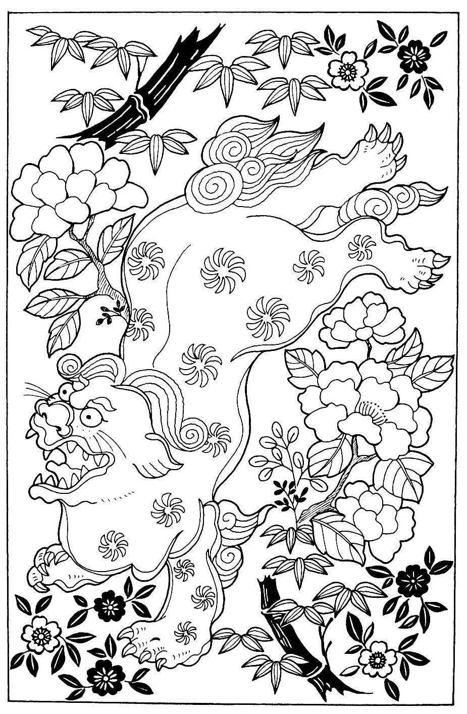 Free Bamboo Coloring Pages Lion Peonies printable