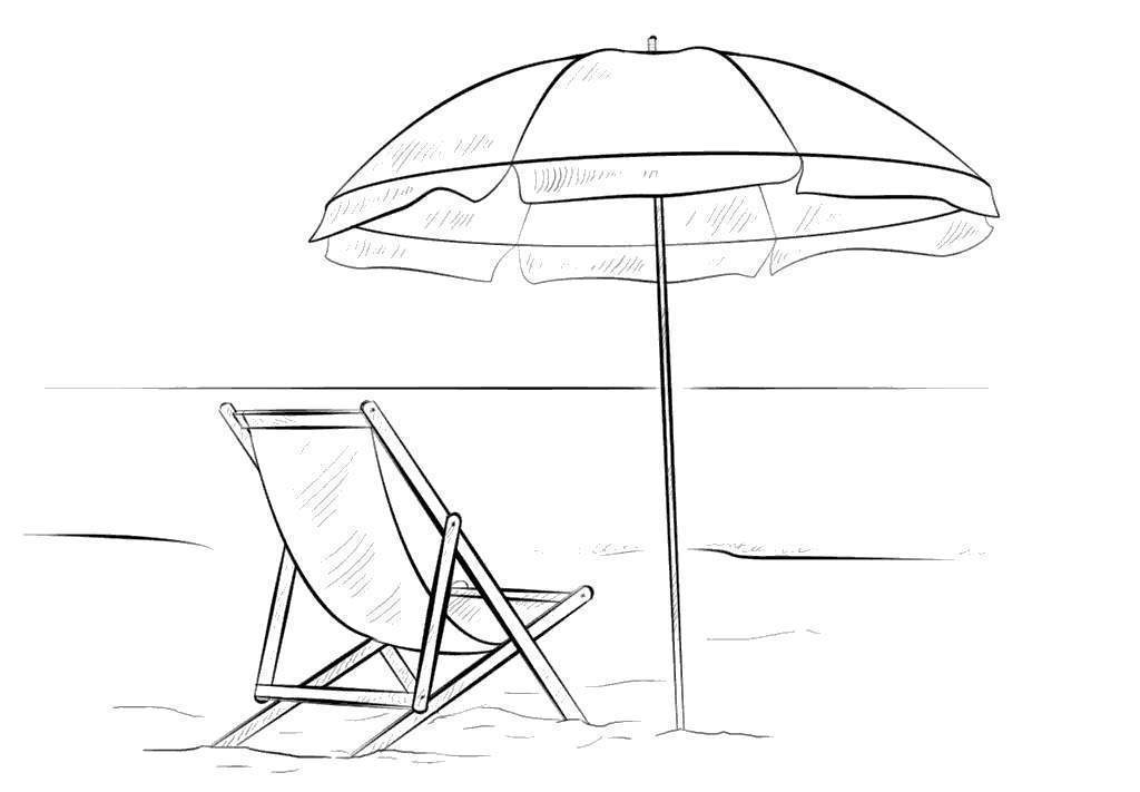 Beach Umbrella Coloring Pages Chair And - Free Printable Coloring Pages