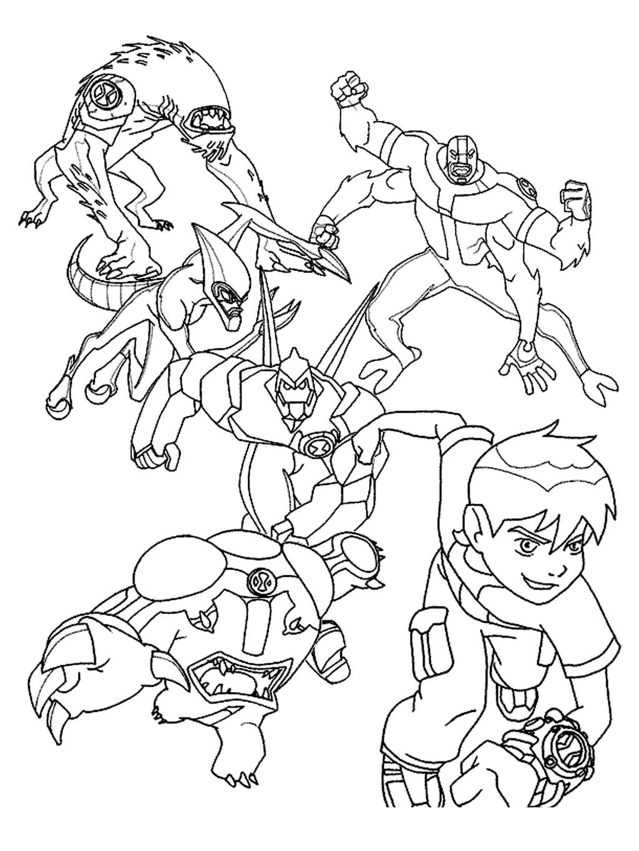 Ben 10 Omniverse Alien Coloring Pages Werewolf Ten - Free