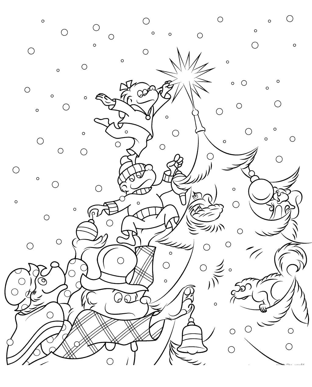 Berenstain Bears Coloring Pages Christmas Tree Free Printable
