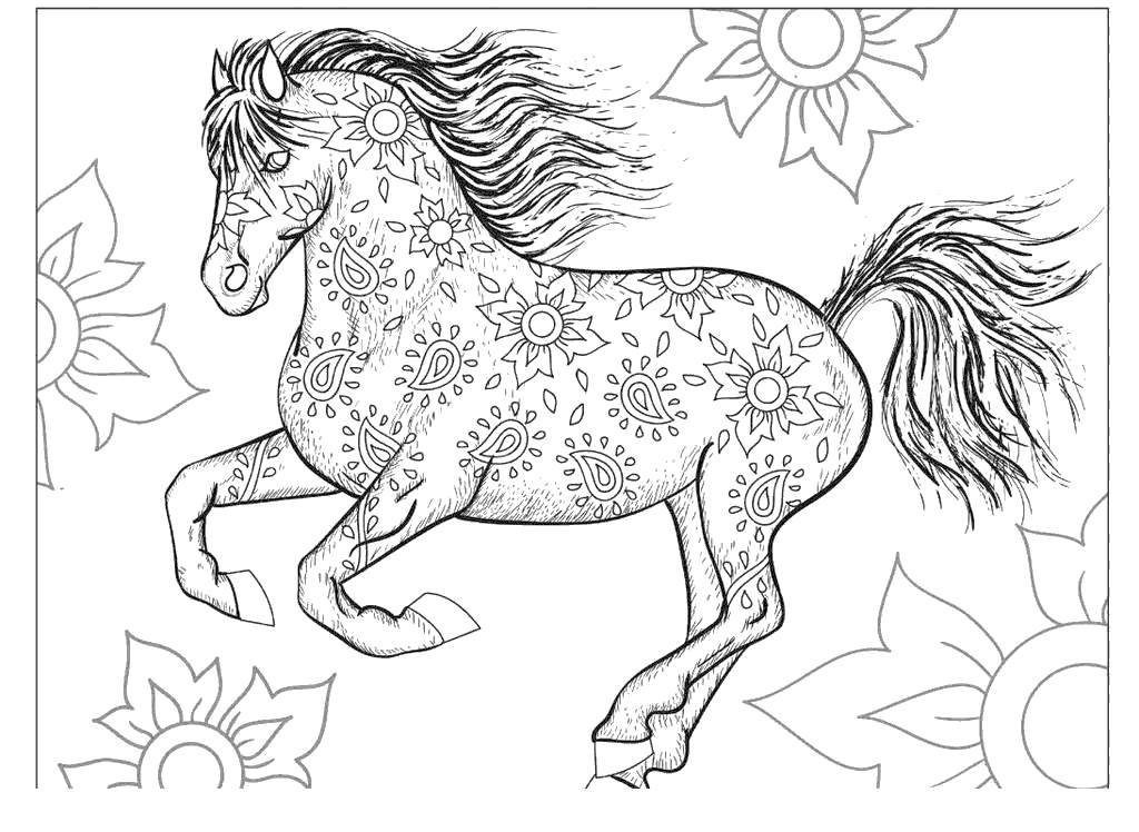 Carousel Horses Coloring Pages Horse Realistic - Free ...