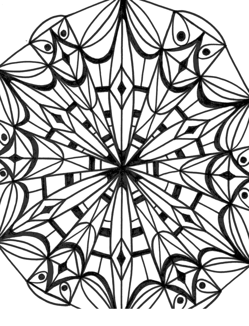 Free Kaleidoscope Coloring Pages Drawing Personal printable