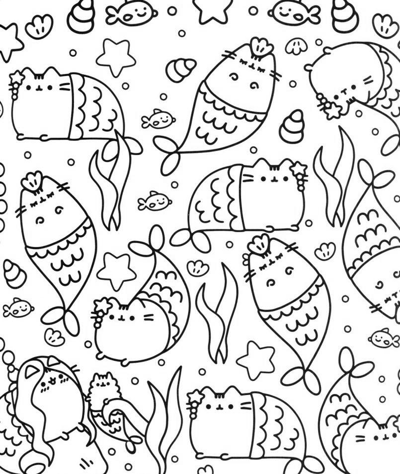 Free Free Pusheen Cat Coloring Pages 138 Hand Drawing printable