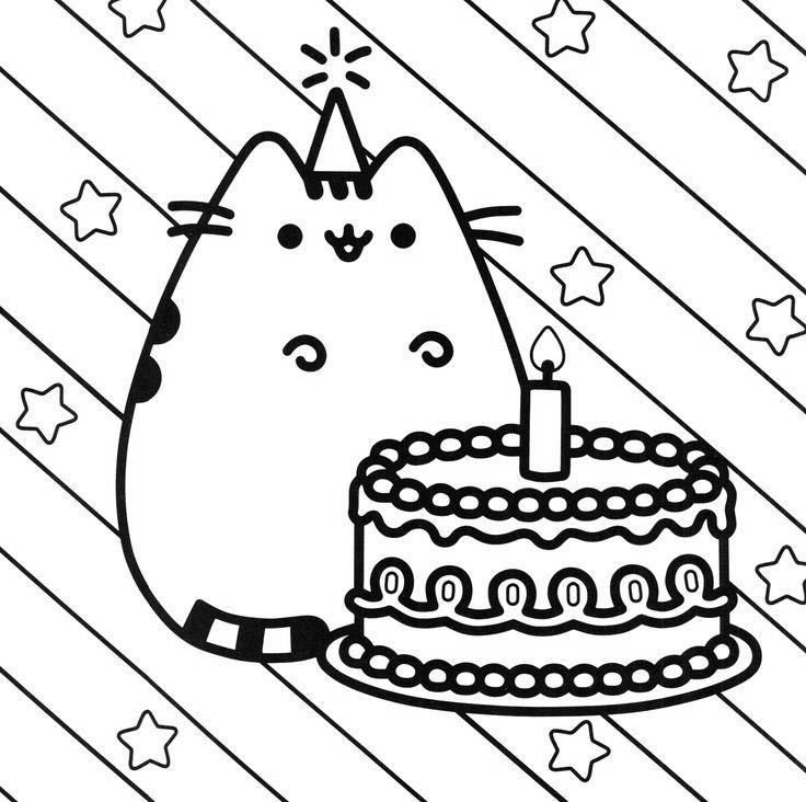 Happy Birthday Pusheen Cat Coloring Pages - Free Printable ...