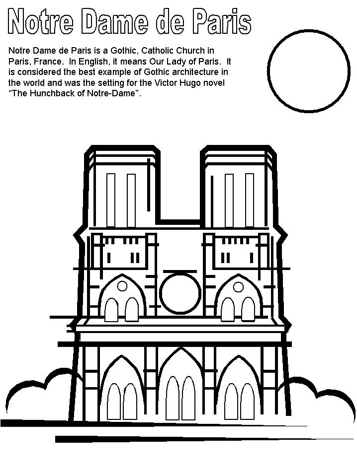 Notre Dame Cathedral Coloring Pages France Free Printable Coloring