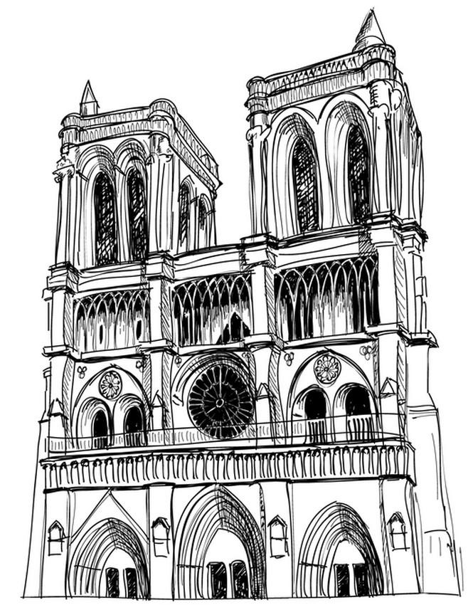 Notre Dame Cathedral Coloring Pages Outline Free Printable