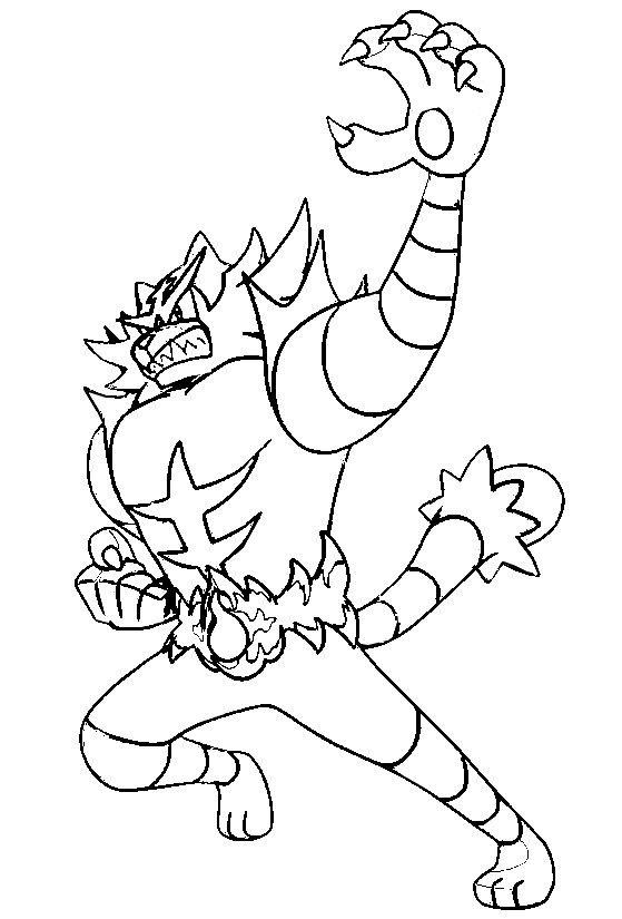 Free Pokemon Coloring Pages Sun and Moon Incineroar printable