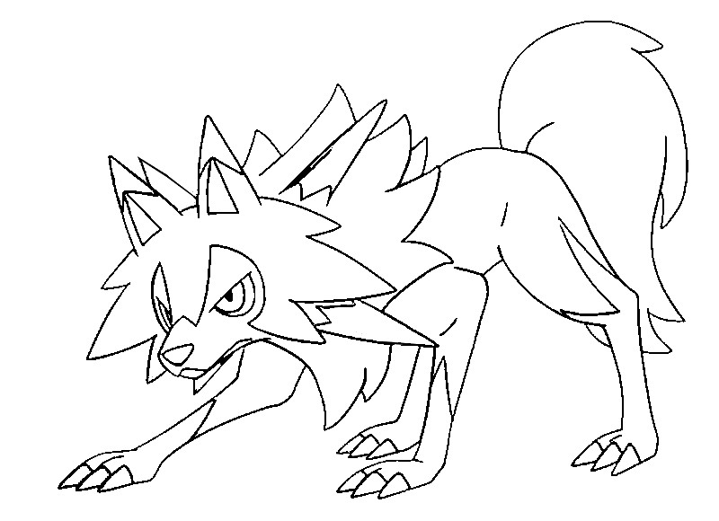 Free Pokemon Coloring Pages Sun and Moon Lycanroc midday form printable
