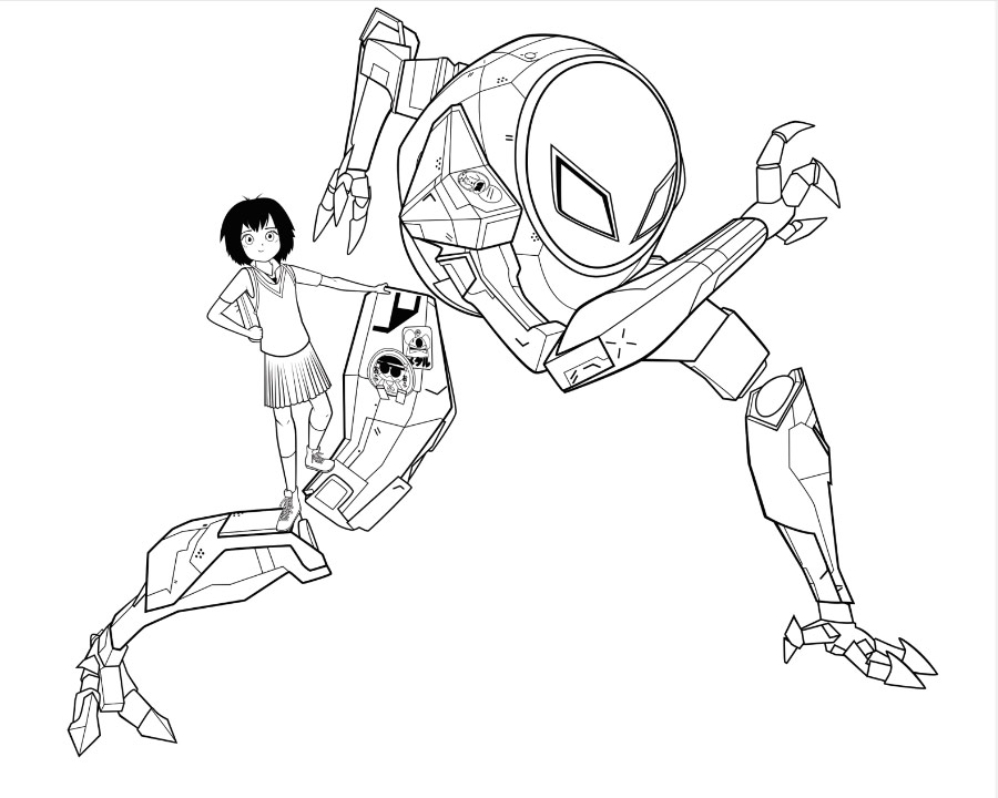 Free Spider Man Into the Spider Verse Coloring Pages Peni Parker and SP II Dr printable