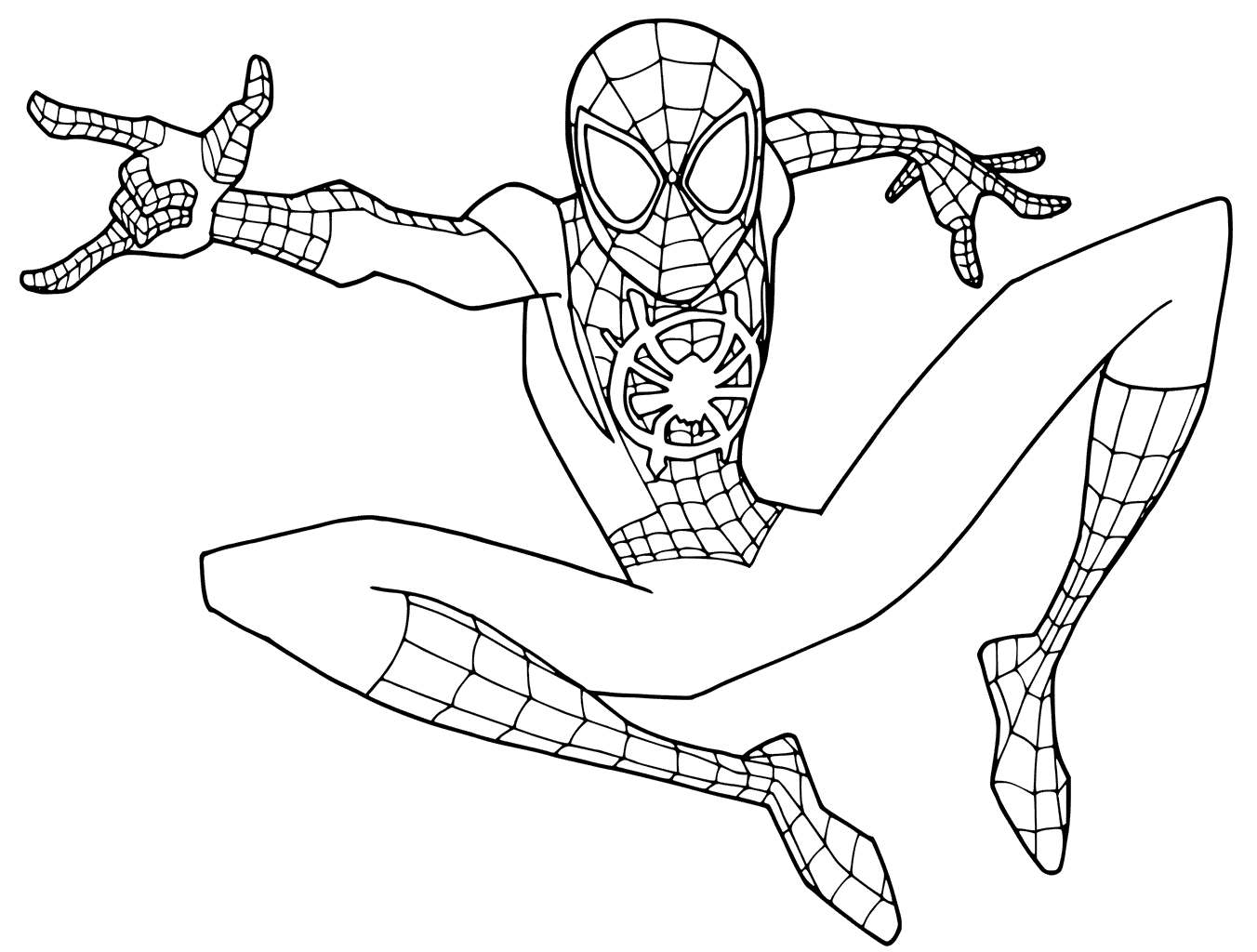 Spiderman Para Colorear Gratis: Spider Man Into The Spider Verse Coloring Pages Young