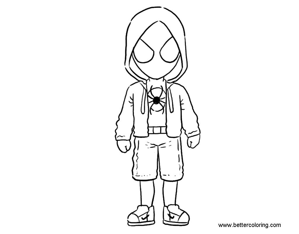 Free Chibi Miles Morales Coloring Pages printable
