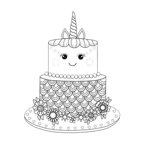 Cute Unicorn Cake Coloring Pages - Free Printable Coloring ...
